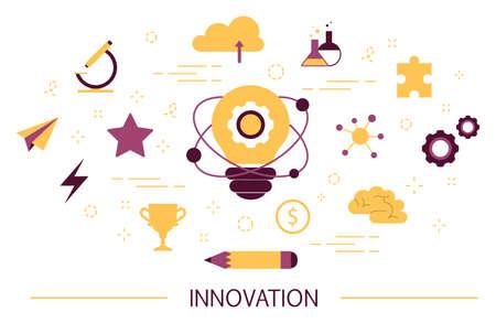 Concetto di innovazione. Idea di tecnologia innovativa. Mente creativa. Lampadina come metafora dell'idea. Illustrazione vettoriale FLAT isolata