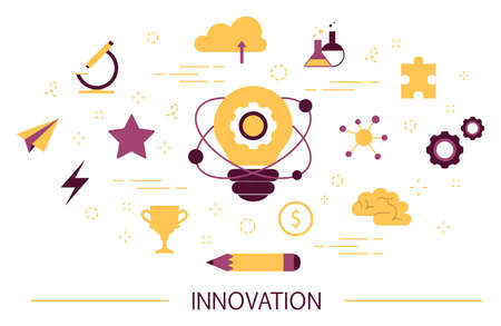 Innovation concept. Idea of innovative technology. Creative mind. Light bulb as a metaphor of idea. Isolated FLATvector illustration Illusztráció