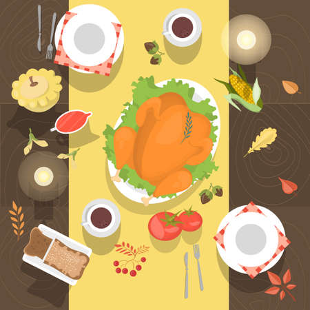 Table with the chicken or turkey and bread top view. Meal on the wooden table. White dishes and coffee cups. Vector illustration in cartoon style. Ilustração