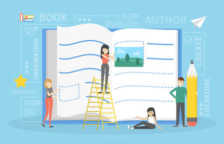 Small people writing book with pencil. Editing text and building composition. Flat vector illustration