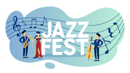Jazz festival and acoustic live music event poster. Concert invitation. Isolated flat vector illustration