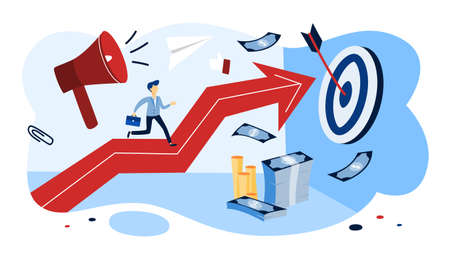 Motivation concept. Businessman running up the arrow. Idea of careeer growth and success. Isolated flat vector illustration Illustration