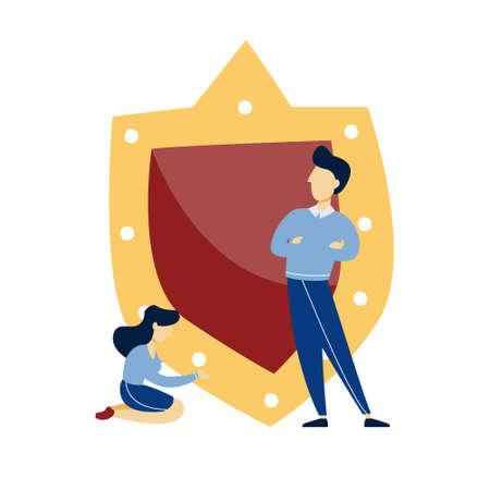 People standing at the big shield illustration  イラスト・ベクター素材