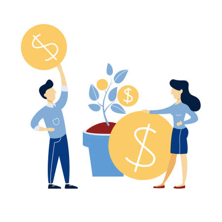 Business people growing a money tree illustration