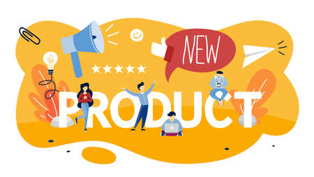New product promotion and advertising concept. Public announcement. Rate the product. Isolated flat vector illustration