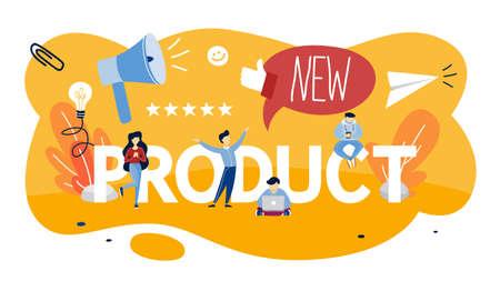 Promozione di nuovi prodotti e concetto di pubblicità. Annuncio pubblico. Valuta il prodotto. Illustrazione vettoriale piatto isolato Vettoriali