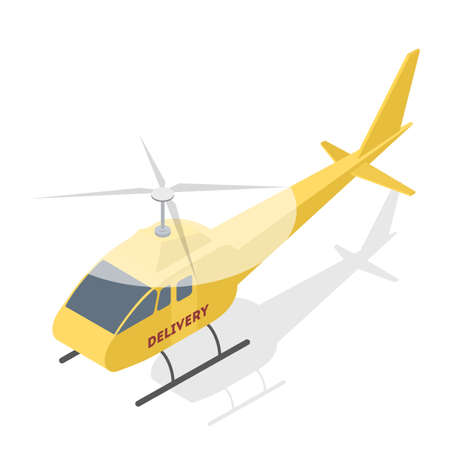 Shipping and global delivery by plane or helicopter. Flying aircraft. International communication. Isolated vector isometric illustration Illustration