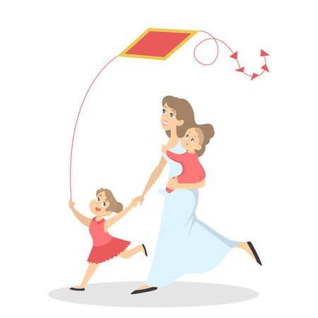 Happy family have fun. Mom with a baby and child play together with a kite. Summer activity. Isolated flat vector illustration