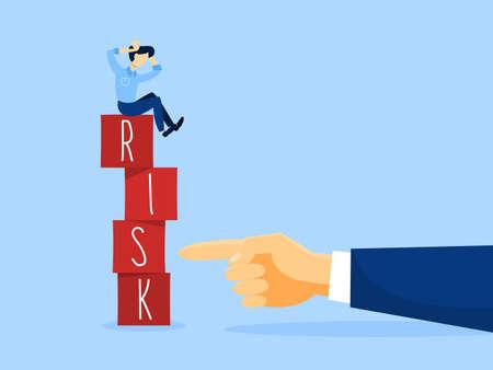 Risk concept illustration. Business challenge and balance. Man in danger. Flat vector illustration Illustration