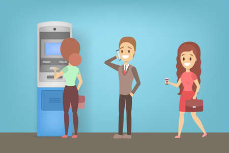People standing in line at ATM. Queue to the ATM machine. Automatic money transaction. Flat vector illustration