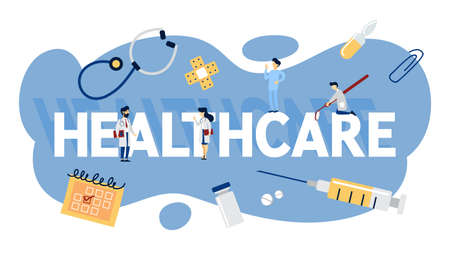 Healthcare concept. Idea of doctor consultation and medical treatment. Flat vector illustration
