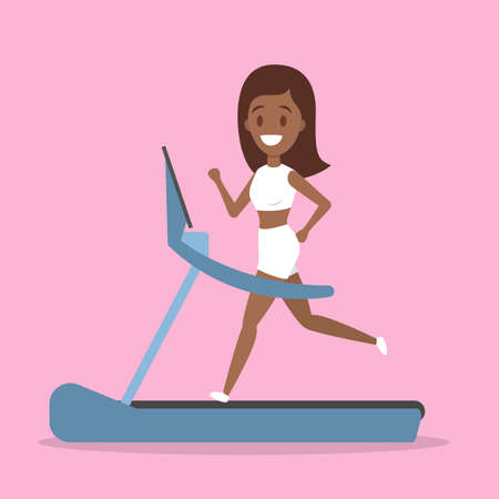 Happy fitness woman running on a treadmill in the gym. Leg workout and cardio. Active and healthy lifestyle. Isolated flat vector illustration