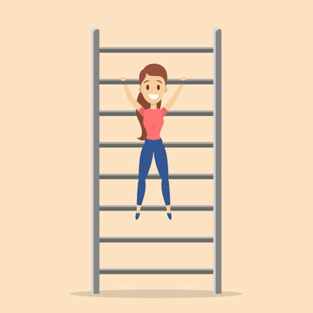 Woman doing pull-up exercise in the gym. Arm workout. Physical health and activity. Flat vector illustration