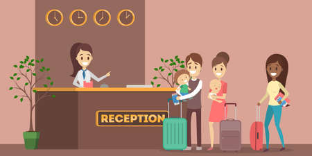 People standing in queue at the hotel reception. Room reservation or booking. People on a vacation. Flat vector illustration Ilustracje wektorowe