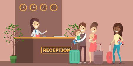 Personas haciendo cola en la recepción del hotel. Reserva de habitación o reserva. Personas de vacaciones. Ilustración vectorial plana Ilustración de vector