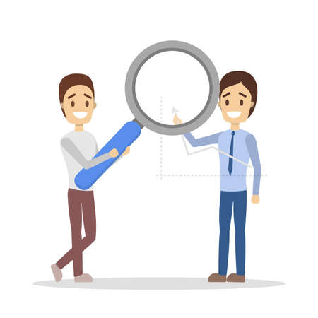 Two business people with magnifying glass looking at graph. Analyzing business and making research. Teamwork concept. Isolated flat vector illustration