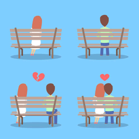 Man and woman sitting on the bench, falling in love and breaking up. Relationship stages of romantic couple. Isolated flat vector illustration Illustration