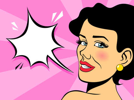 Pop art brunette woman talking using speech bubble on pink background. Vintage girl with red lips in comic style. Flat vector illustration