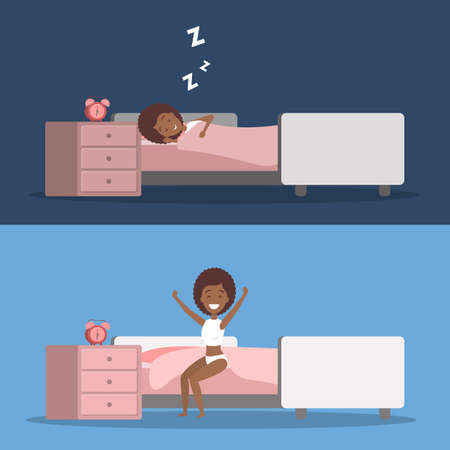 Woman sleeping in bed and waking up Stock Vector - 107693374