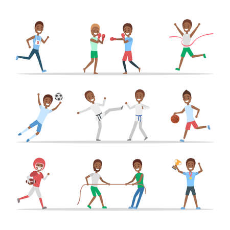 Set of african american sportsmen. People doing different kind of sport: play basketball, boxing, running and winning the competition. Isolated flat vector illustration