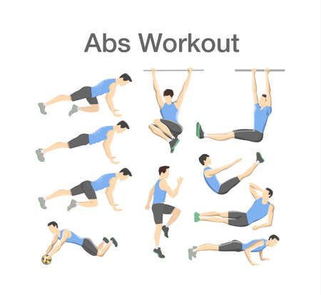 ABS workout for men. Sport exercise for perfect abs. Fit body and healthy lifestyle. Muscle training. Isolated vector illustration