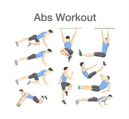 Entraînement ABS pour hommes. Exercice de sport pour des abdos parfaits. Corps en forme et mode de vie sain. Entraînement musculaire. Illustration vectorielle isolée