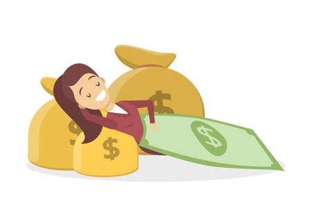 Felice imprenditrice sdraiato con sacchi di denaro ricoperti di banconote in dollari. Idea di finanza ricchezza e successo. Illustrazione vettoriale piatto isolato Vettoriali