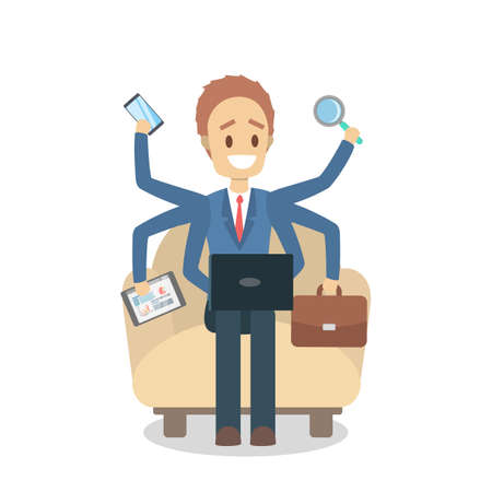 Multitasking businessman. Effective and talented employee or workaholic. Doing many things at once. Isolated flat vector illustration