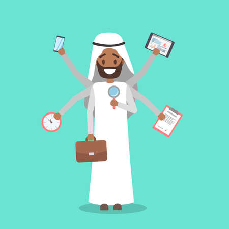 Multitasking arab businessman. Effective and talented employee or workaholic. Doing many things at once. Isolated flat vector illustration