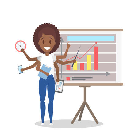 Multitasking african american businesswoman. Effective and talented employee or workaholic. Doing many things at once. Isolated flat vector illustration