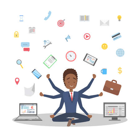 Shiva businessman in lotus pose having break at work and meditate. Happy multitasking office worker with many hands. Isolated flat vector illustration Illustration
