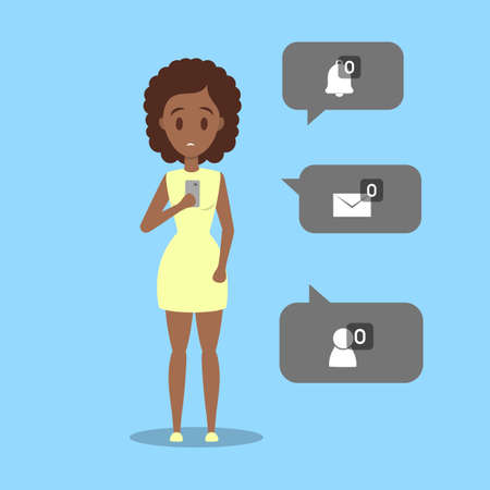 Sad young african american woman holding mobile phone with no message sign. Loneliness concept. Isolated flat vector illustration