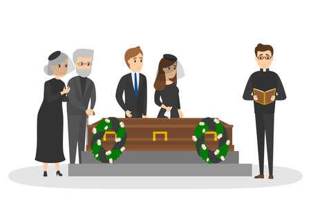 Cerimonia funebre al cimitero. Gruppo di persone tristi in abiti neri in piedi con fiori e ghirlande intorno alla bara. Illustrazione piana di vettore isolato