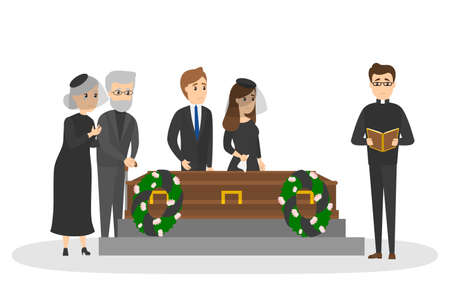 Funeral ceremony on the cemetery. Group of sad people in black clothes standing with flowers and wreaths around coffin. Isolated vector flat illustration