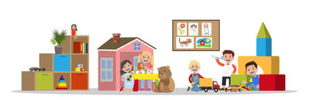 Children in kindergarten play with different toys Illustration