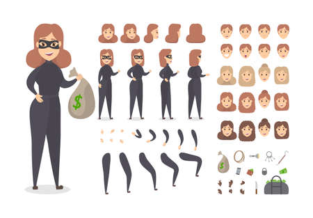 Thief smiling female character in mask set for animation with various views, hairstyles, face emotions, poses and gestures. Bag with money and robber equipment. Isolated flat vector illustration Ilustrace