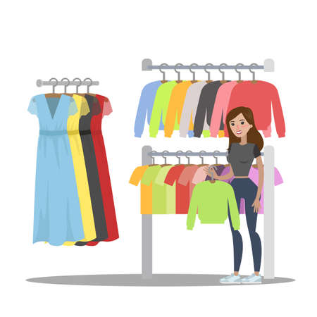 Woman choosing clothes in the clothing store. Searching for fashion hoodie. Isolated vector flat illustration Vektorové ilustrace