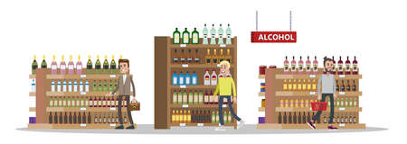 Duty free interior in the airport building. People buying cheap bottles of alcohol. Tax free. Vector flat illustration