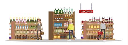 Interni duty free nell'edificio dell'aeroporto. Persone che comprano bottiglie di alcolici a buon mercato. Senza tasse. Vector piatta illustrazione