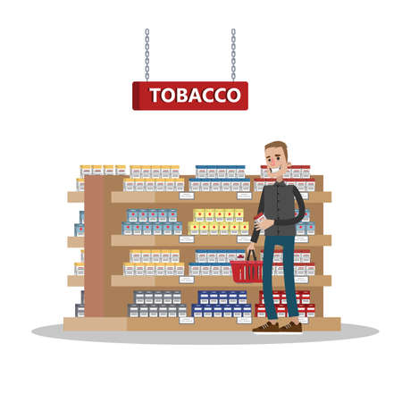 Duty free interior in the airport building. Man buying cheap tobacco or cigarette. Tax free. Vector flat illustration Banco de Imagens - 107387801