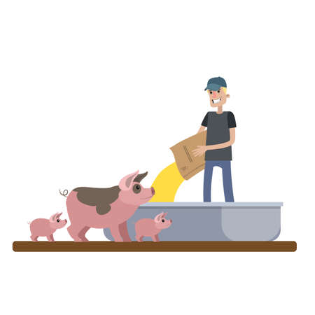 Agriculteur souriant nourrissant un cochon à la ferme. La vie au village. Illustration de plat vecteur isolé