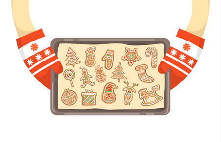 Hands in gloves holding tray with homemade cookies. Traditional holiday gingerbread. Isolated vector illustration