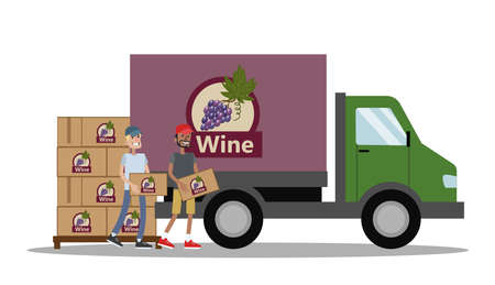 Big truck full of of bottles of wine. Alcohol manufacture. Workers carrying boxes with bottles to the vehicle. Fast delivery. Isolated vector flat illustration