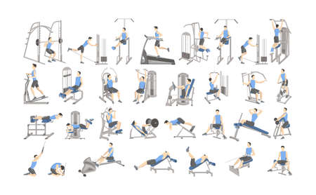 Set of workout for men on exercise machines. Sport equipment for fitness. Healthy and active lifestyle. Isolated vector illustration