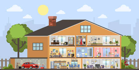 House building interior plan with the garage. Home with kitchen and bathroom, bedroom and living room. Vector flat illustration