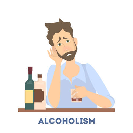 Young depressed drunk man drinking alcohol. Alcoholic with bottle of whiskey and wine. Alcohol addiction. Vector illustration in cartoon style.