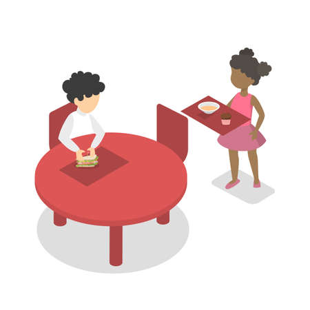 Children have lunch or breakfast in the school cantine. Boy sitting at the table with sandwich. Isolated vector isometric illustration Vettoriali
