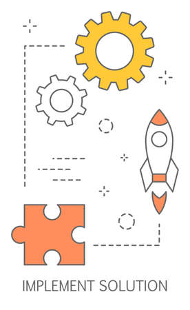 Implement solution concept. Idea of problem solving and finding solution on it. Isolated abstract vector illustration Vettoriali