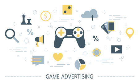 Game advertising concept. Playing game on the mobile phone, watching advertising video and getting reward. Business promotion in the internet. Isolated flat vector illustration Illusztráció