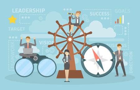 Concetto di direzione. Guidare una squadra, aiutare e supportare i dipendenti. Illustrazione vettoriale piatta Vettoriali
